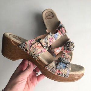 Dansko Sophie multi speckled buckle sandals